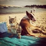 Lucienne avec sa copine à la plage